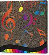 Piano Wavy Border With Colorful Keys And Music Note Canvas Print