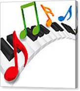 Piano Wavy Keyboard And Music Notes 3d Illustration Canvas Print