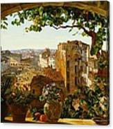 Piazza Barberini In Rome Canvas Print