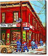 Piche's Grocery Store Bridge Street And Forfar Goosevillage Montreal Memories By Carole Spandau Canvas Print