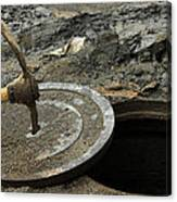 Pick Axe In A Man Hole Cover Canvas Print