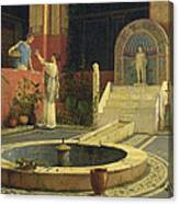Picking Flowers From The Courtyard Canvas Print