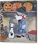 Picking Out The Halloween Pumpkin Canvas Print