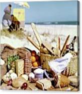 Picnic Display On The Beach Canvas Print
