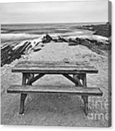 Picnic - Lone Table Overlooking The Ocean In Montana De Oro State Park In Caliornia Canvas Print