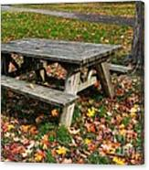 Picnic Table In Autumn Canvas Print