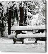 Picnic Table In The Snow Canvas Print