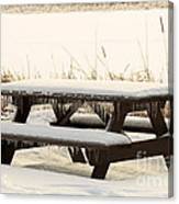 Picnic Table In Winter Canvas Print