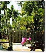 Picnic Under The Palms Canvas Print
