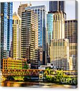 Picture Of Chicago Buildings At Lake Street Bridge Canvas Print