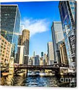 Picture Of Chicago River Skyline At Clark Street Bridge Canvas Print
