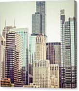 Picture Of Vintage Chicago With Sears Willis Tower Canvas Print