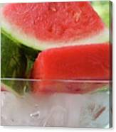 Pieces Of Watermelon In A Bowl Of Ice Cubes Canvas Print