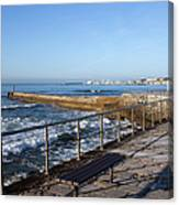 Pier And Promenade By The Atlantic Ocean In Cascais Canvas Print