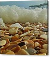Pier Foam And Shells 5 10/13 Canvas Print