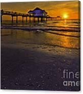 Pier Into The Sun Canvas Print