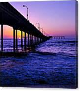 Pier Sunset Ocean Beach Canvas Print
