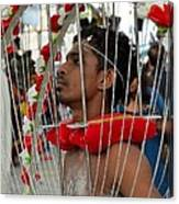 Pierced Hindu Devotee Wears Kavadi At Thaipusam Singapore Canvas Print