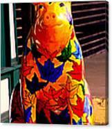 Pig Art Statuary Leaves Canvas Print