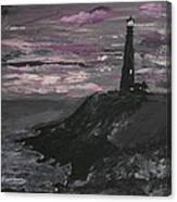 Pigeon Lighthouse Impasto Sunset Monochromatic Canvas Print