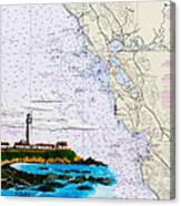 Pigeon Point Lighthouse On Noaa Nautical Chart Canvas Print