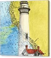 Pigeon Pt Lighthouse Ca Nautical Chart Map Art Canvas Print