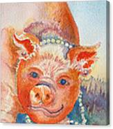 Piggy In Pearls Canvas Print
