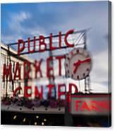 Pike Place Public Market Neon Sign Canvas Print