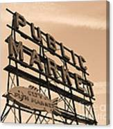 Pike's Place Market Sepia Canvas Print