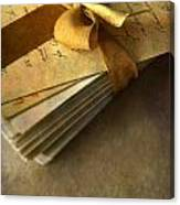 Pile Of Letters With Golden Ribbon Canvas Print
