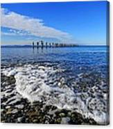 Pilings In The Ocean Canvas Print