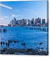 Pilings On Boston Harbor Canvas Print