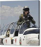 Pilot Standing In  A Socata Tb-30 Canvas Print