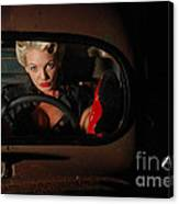 Pin Up Girl In A Classic Rat Rod Car Canvas Print