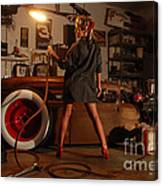 Pin Up Girl With Blow Torch Canvas Print