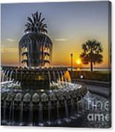 Pinapple Fountain Charleston Sc Sunrise Canvas Print