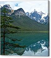 Pine Over Emerald Lake Reflection In Yoho National Park-british Columbia-canada Canvas Print