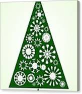 Pine Tree Snowflakes - Green Canvas Print