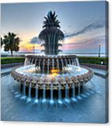 Pineapple Fountain At Waterfront Park Canvas Print