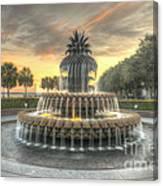 Pineapple Fountain Sunset Canvas Print