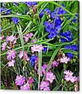Pink And Blue Garden Canvas Print