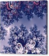 Pink And Blue Morning Frost Fractal Canvas Print