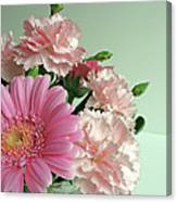 Pink And Green Floral Canvas Print