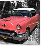Pink And White Cuban Taxi Canvas Print