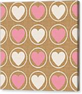 Pink And White Hearts Canvas Print
