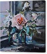 Pink And White Roses In Silver Mug Canvas Print