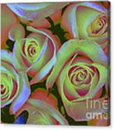 Pink And Yellow Roses Pop Art Canvas Print