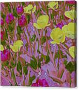 Pink And Yellow Tulips Pop Art Canvas Print