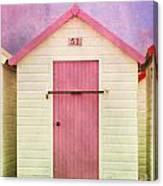 Pink Beach Hut Canvas Print