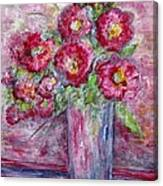 Pink Beauties In A Blue Crystal Vase Canvas Print